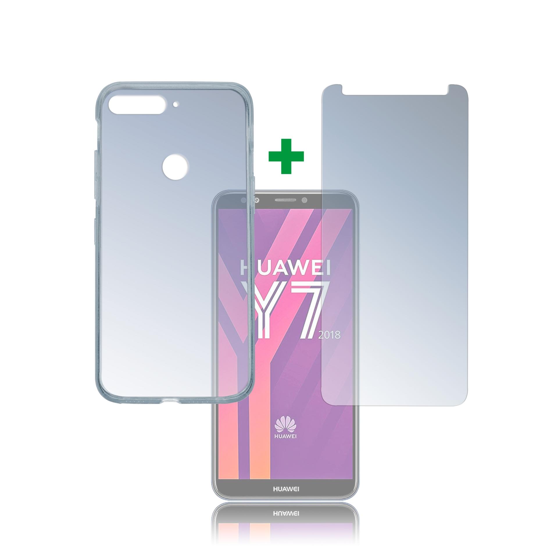 4smarts 360° Protection Set Limited Cover — тънък силиконов кейс и стъклено защитно покритие за дисплея на Huawei Y7 (2018), Prime Y7 (2018) (прозрачен)  - 1
