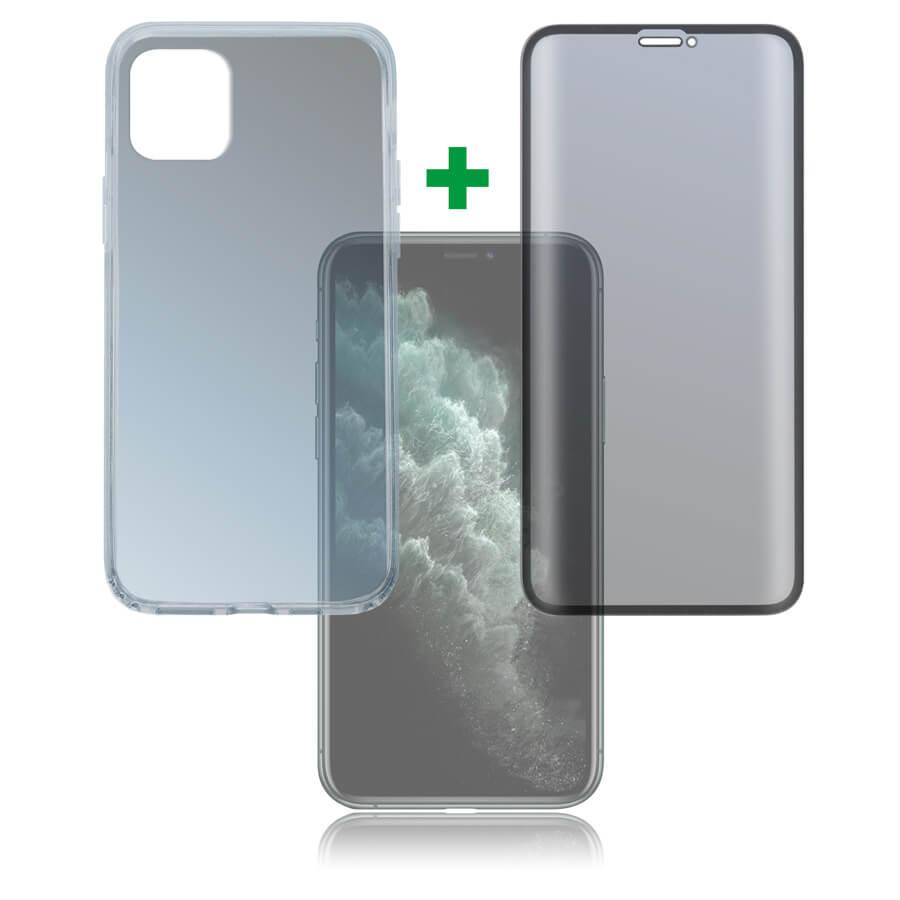 4smarts 360° Premium Protection Set — тънък силиконов кейс и стъклено защитно покритие с извити ръбове за дисплея на iPhone 11 Pro Max (прозрачен) - 1