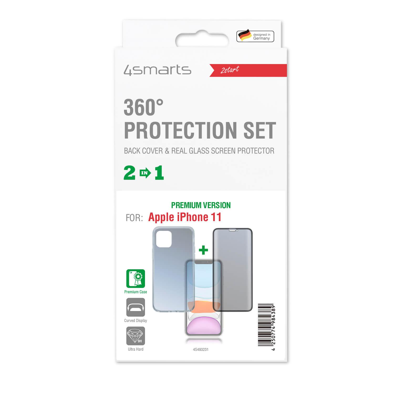 4smarts 360° Premium Protection Set — тънък силиконов кейс и стъклено защитно покритие с извити ръбове за дисплея на iPhone 11 (прозрачен) - 2