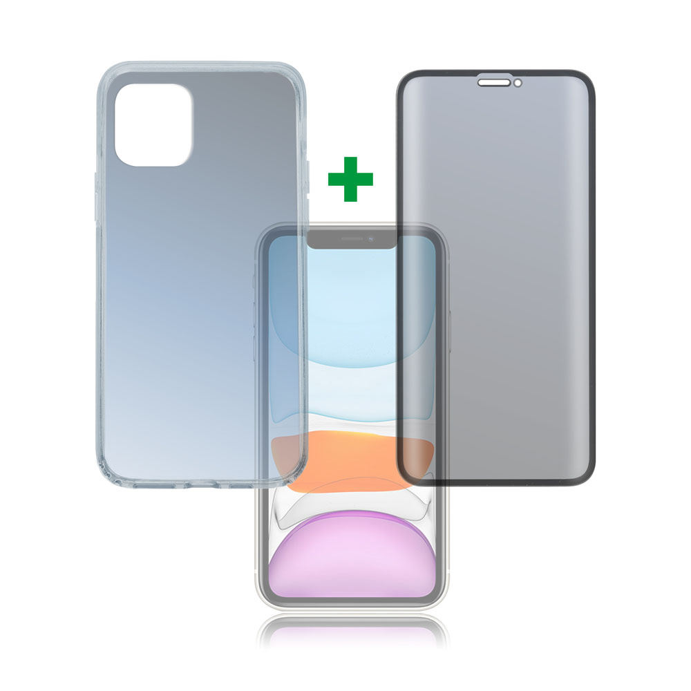4smarts 360° Premium Protection Set — тънък силиконов кейс и стъклено защитно покритие с извити ръбове за дисплея на iPhone 11 (прозрачен) - 1