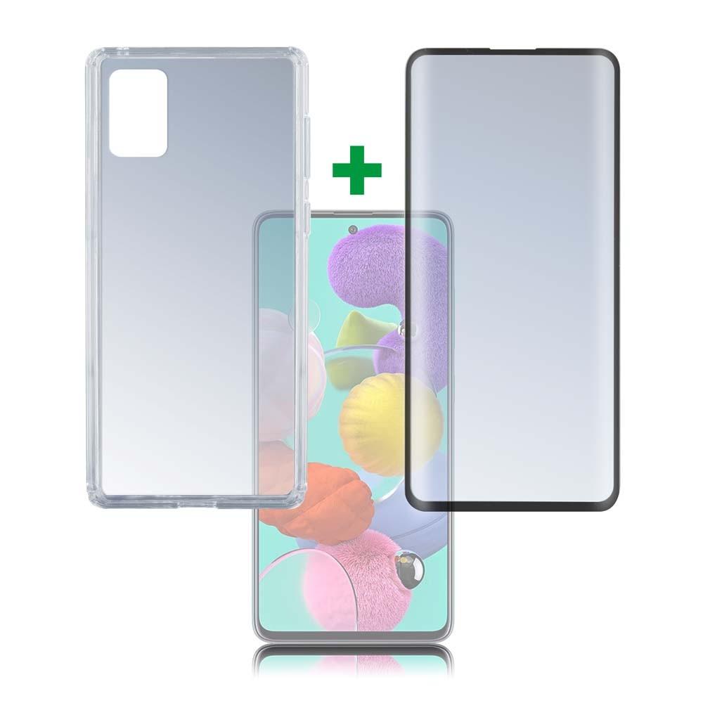 4smarts 360° Premium Protection Set — тънък силиконов кейс и стъклено защитно покритие с извити ръбове за дисплея на Samsung Galaxy A51 (прозрачен) - 1