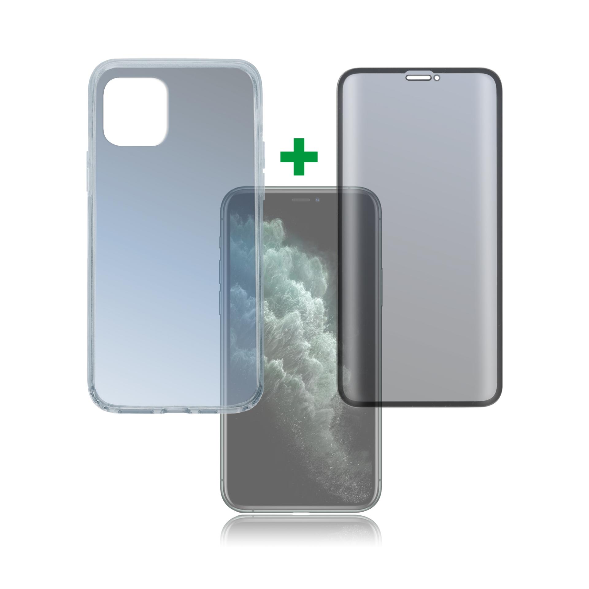4smarts 360° Premium Protection Set with Colour Frame Glass — тънък силиконов кейс и стъклено покритие с черна рамка и извити ръбове за дисплея на iPhone 11 Pro (прозрачен) - 1