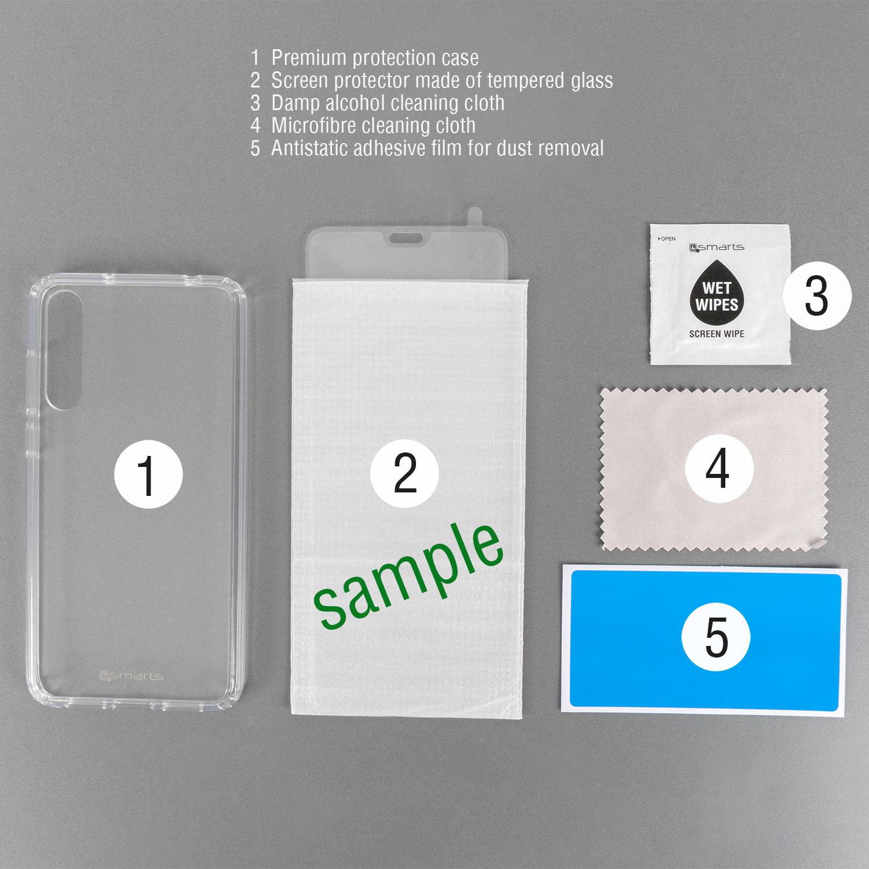4smarts 360° Premium Protection Set with Colour Frame Glass — тънък силиконов кейс и стъклено покритие с черна рамка и извити ръбове за дисплея на iPhone 11 Pro (прозрачен) - 3