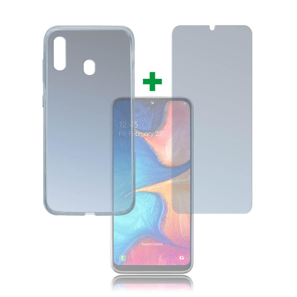 4smarts 360° Protection Set Limited Cover — тънък силиконов кейс и стъклено защитно покритие за дисплея на Samsung Galaxy A20E (прозрачен) - 1