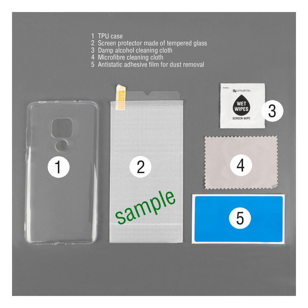 4smarts 360° Protection Set Limited Cover — тънък силиконов кейс и стъклено защитно покритие за дисплея на Samsung Galaxy A20E (прозрачен) - 2