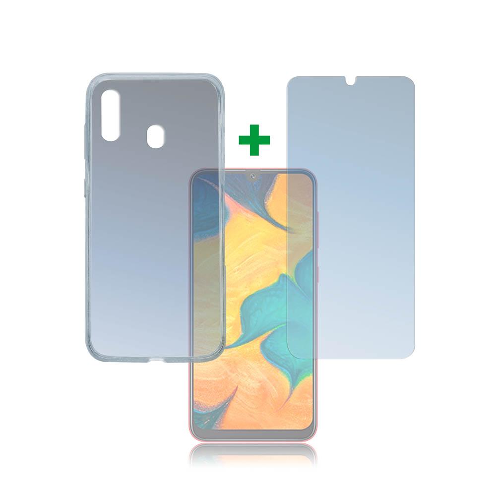 4smarts 360° Protection Set Limited Cover — тънък силиконов кейс и стъклено защитно покритие за дисплея на Samsung Galaxy A30 (прозрачен) - 1