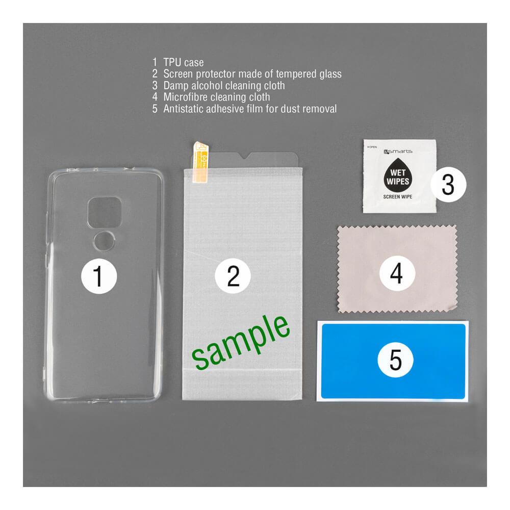 4smarts 360° Protection Set Limited Cover — тънък силиконов кейс и стъклено защитно покритие за дисплея на Samsung Galaxy A30 (прозрачен) - 3