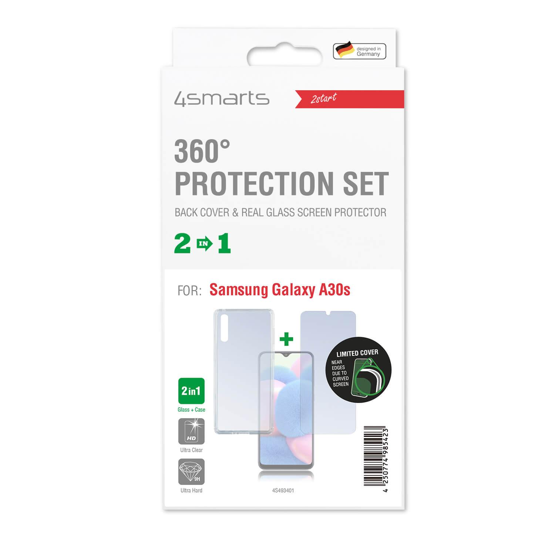 4smarts 360° Protection Set Limited Cover — тънък силиконов кейс и стъклено защитно покритие за дисплея на Samsung Galaxy A30s (прозрачен) - 2