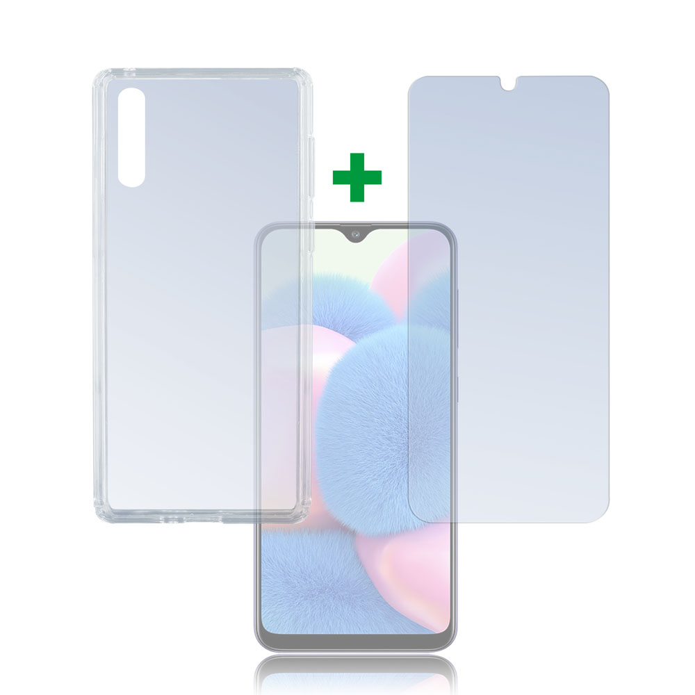 4smarts 360° Protection Set Limited Cover — тънък силиконов кейс и стъклено защитно покритие за дисплея на Samsung Galaxy A30s (прозрачен) - 1