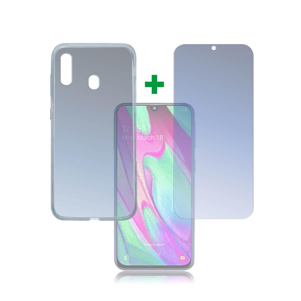 4smarts 360° Protection Set Limited Cover — тънък силиконов кейс и стъклено защитно покритие за дисплея на Samsung Galaxy A40 (прозрачен) - 1