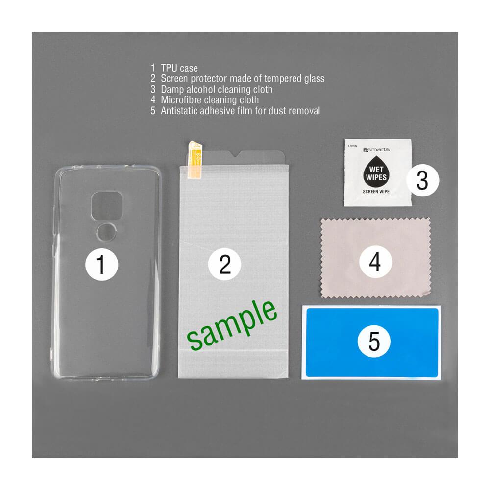 4smarts 360° Protection Set Limited Cover — тънък силиконов кейс и стъклено защитно покритие за дисплея на Samsung Galaxy A50 (прозрачен) - 3