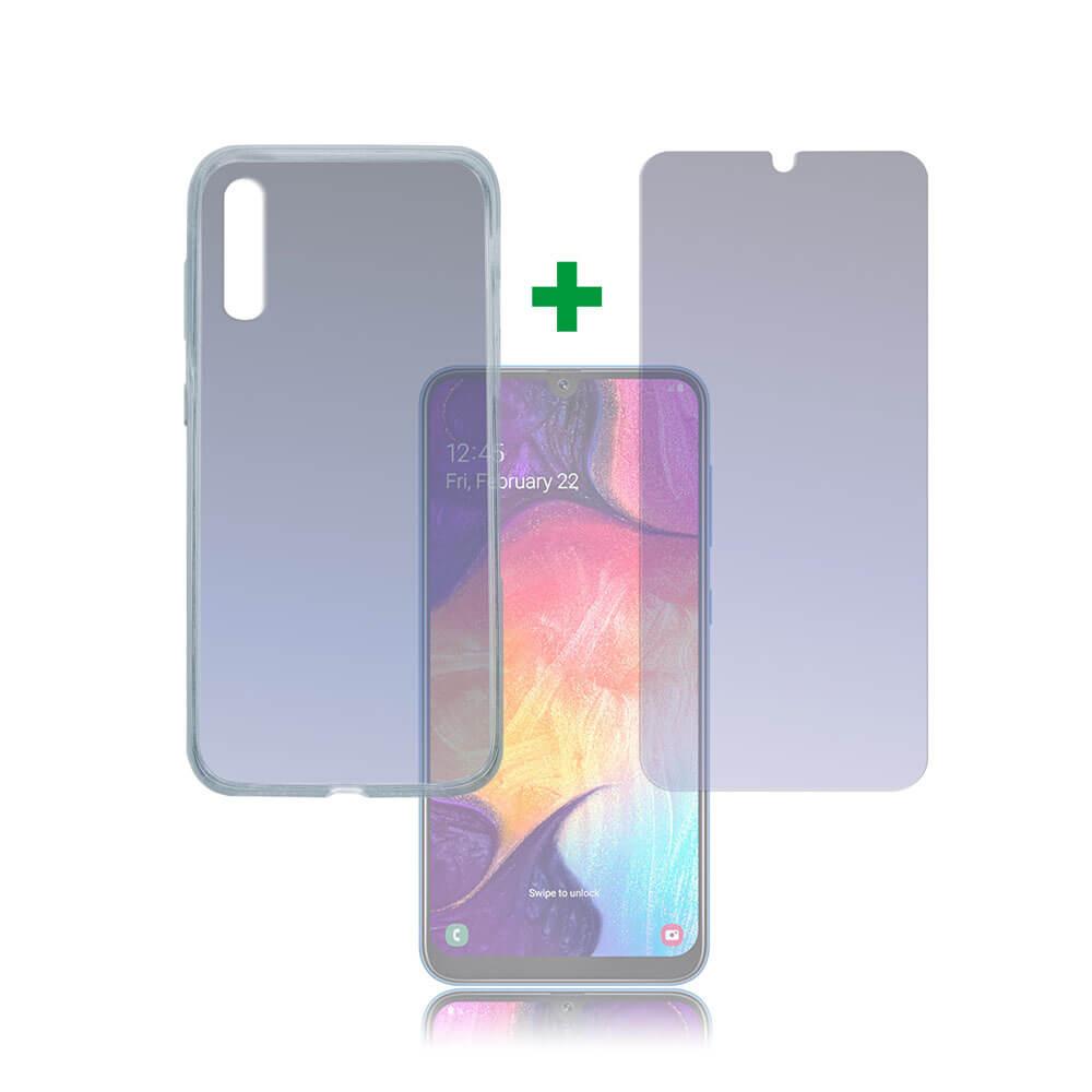4smarts 360° Protection Set Limited Cover — тънък силиконов кейс и стъклено защитно покритие за дисплея на Samsung Galaxy A50 (прозрачен) - 1