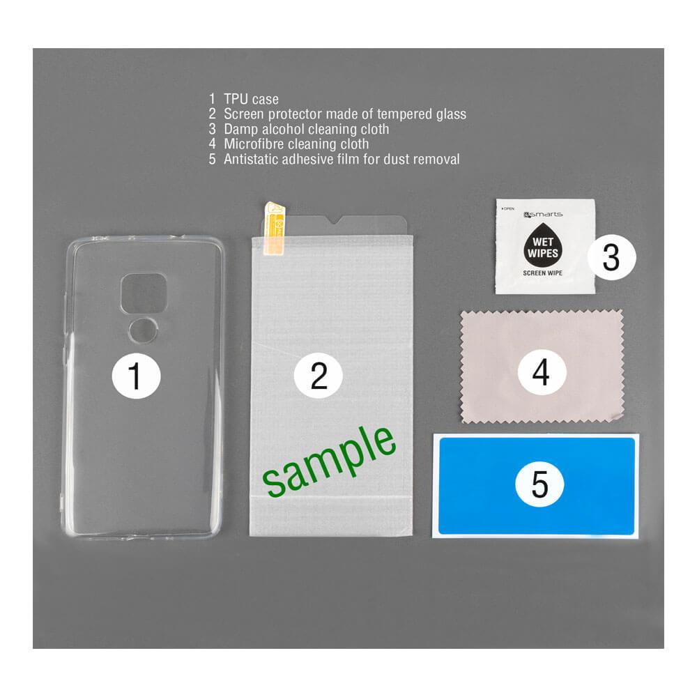 4smarts 360° Protection Set Limited Cover — тънък силиконов кейс и стъклено защитно покритие за дисплея на Samsung Galaxy A70 (прозрачен) - 3