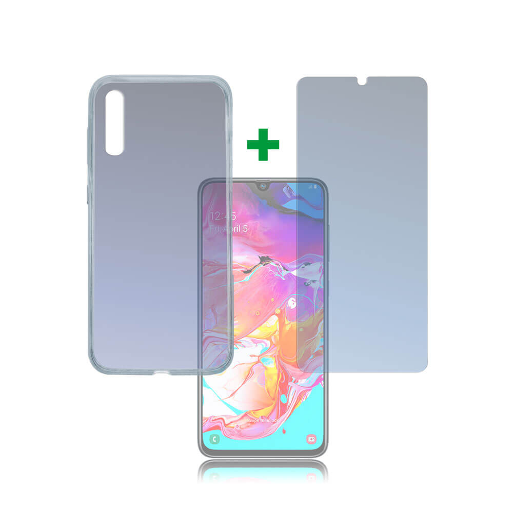 4smarts 360° Protection Set Limited Cover — тънък силиконов кейс и стъклено защитно покритие за дисплея на Samsung Galaxy A70 (прозрачен) - 1