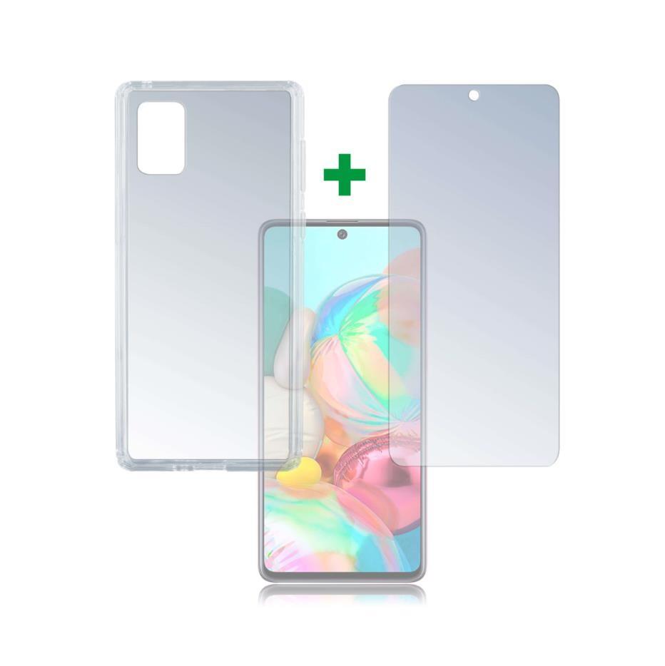 4smarts 360° Protection Set Limited Cover — тънък силиконов кейс и стъклено защитно покритие за дисплея на Samsung Galaxy A71 (прозрачен) - 1