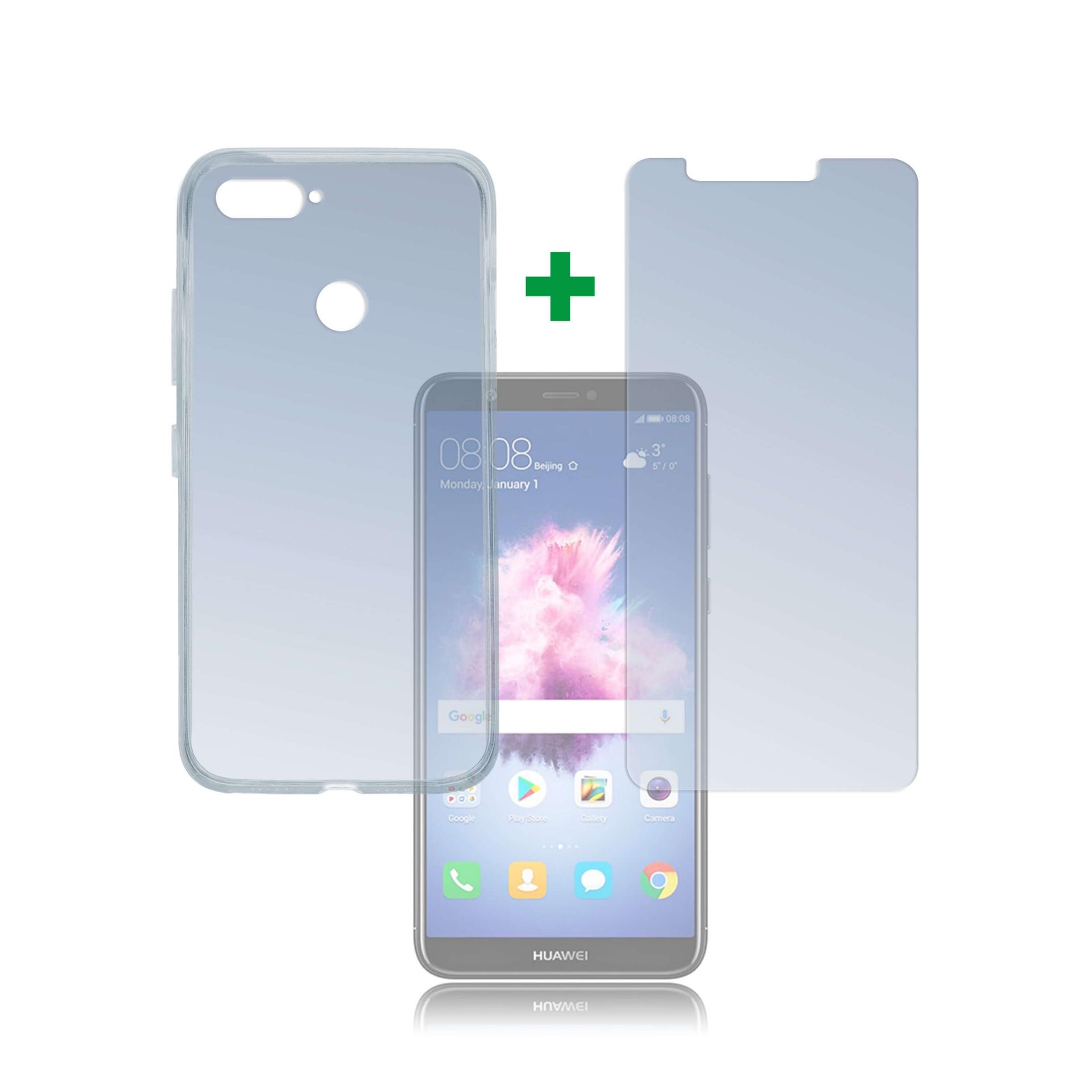 4smarts 360° Protection Set — тънък силиконов кейс и стъклено защитно покритие за дисплея на Huawei P Smart (прозрачен) - 1