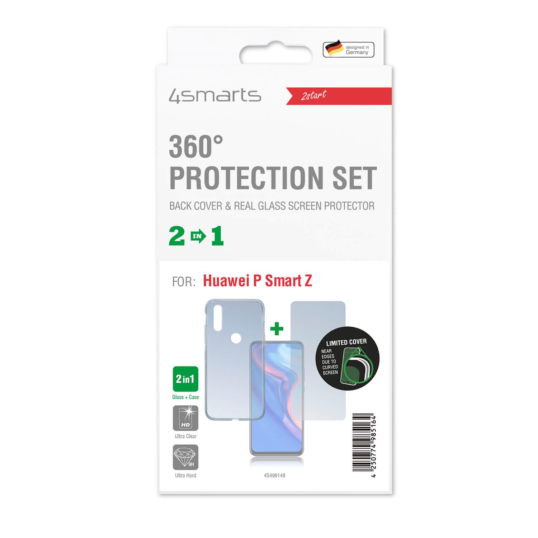 4smarts 360° Protection Set — тънък силиконов кейс и стъклено защитно покритие за дисплея на Huawei P Smart Z (прозрачен) - 2