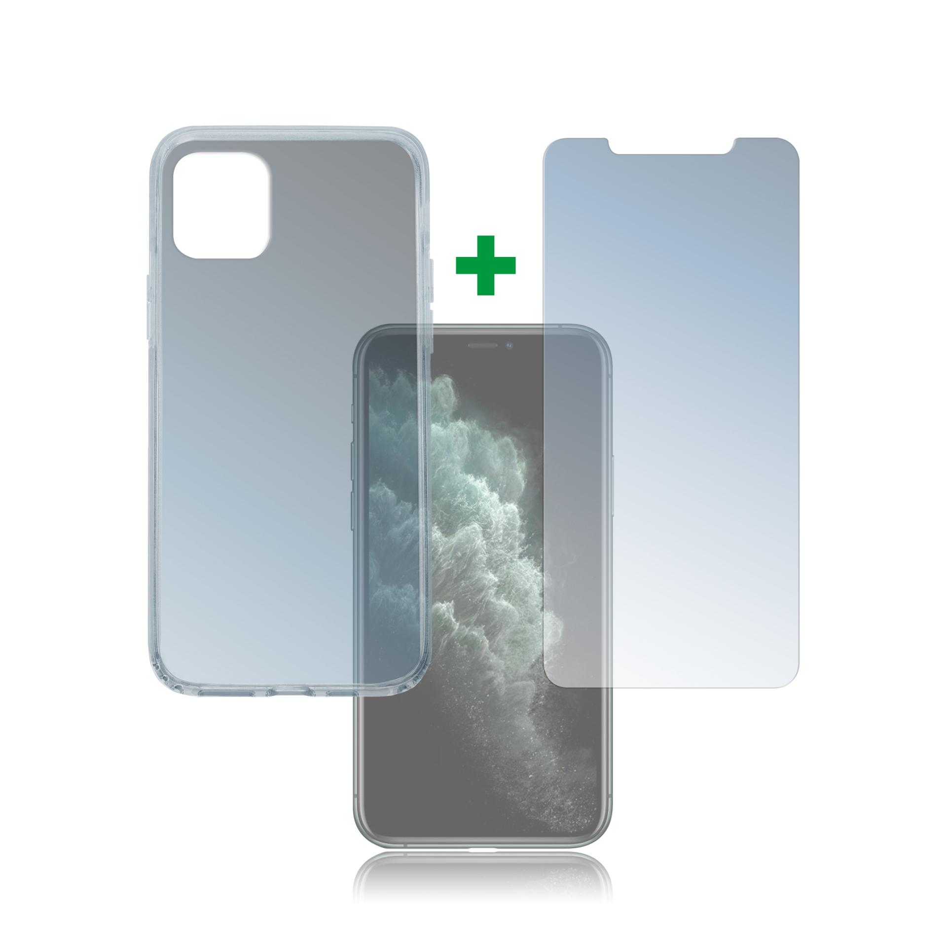 4smarts 360° Protection Set — тънък силиконов кейс и стъклено защитно покритие за дисплея на iPhone 11 Pro Max (прозрачен) - 1