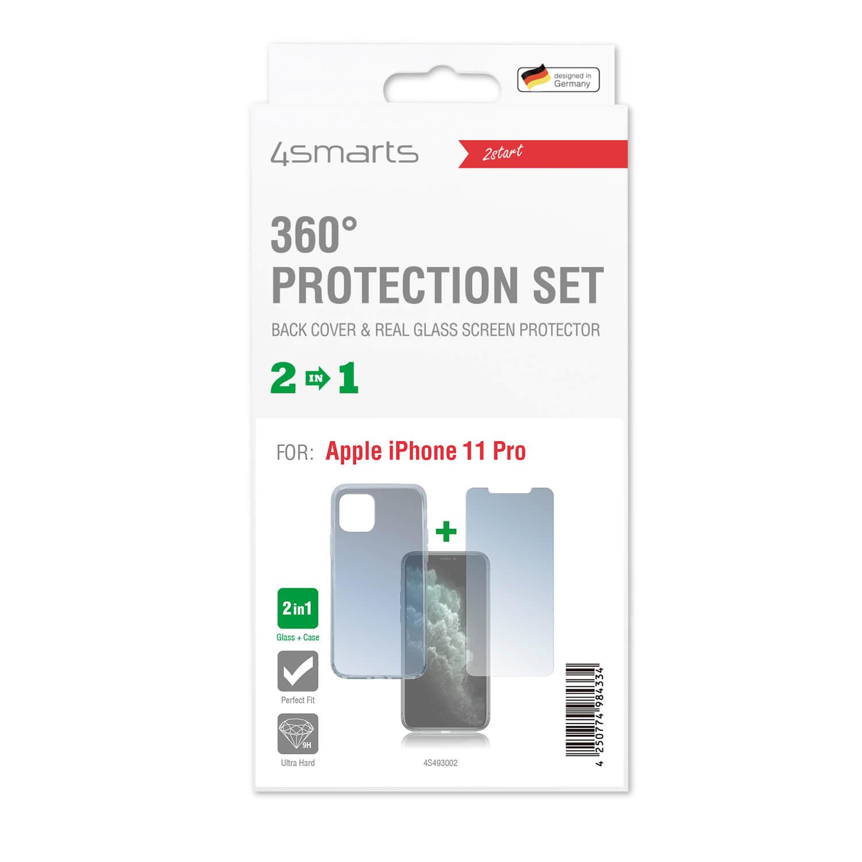 4smarts 360° Protection Set — тънък силиконов кейс и стъклено защитно покритие за дисплея на iPhone 11 Pro (прозрачен) - 2