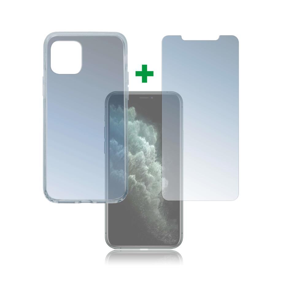 4smarts 360° Protection Set — тънък силиконов кейс и стъклено защитно покритие за дисплея на iPhone 11 Pro (прозрачен) - 1
