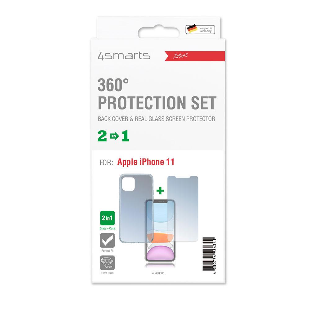 4smarts 360° Protection Set — тънък силиконов кейс и стъклено защитно покритие за дисплея на iPhone 11 (прозрачен) - 2