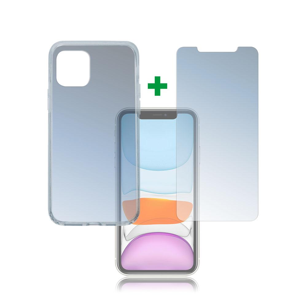 4smarts 360° Protection Set — тънък силиконов кейс и стъклено защитно покритие за дисплея на iPhone 11 (прозрачен) - 1