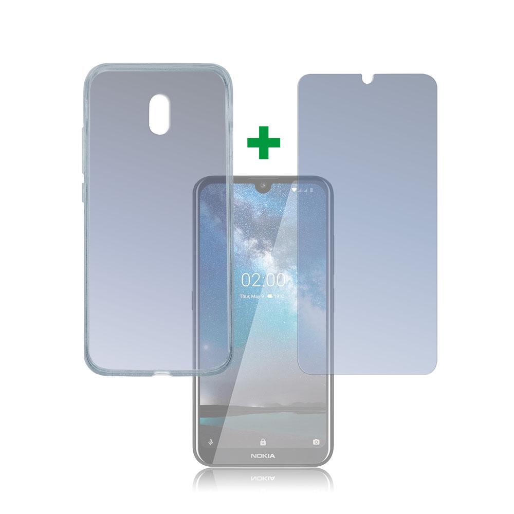 4smarts 360° Protection Set — тънък силиконов кейс и стъклено защитно покритие за дисплея на Nokia 2.2 (прозрачен) - 1