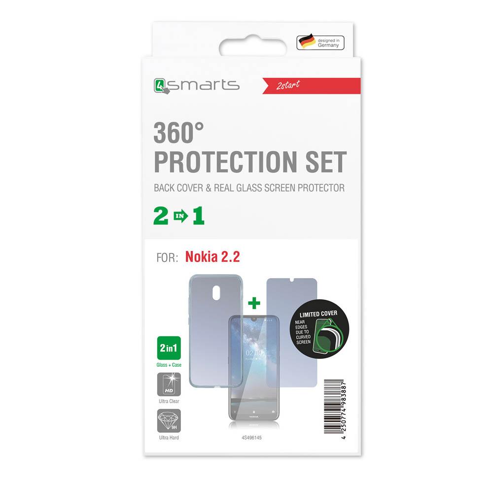 4smarts 360° Protection Set — тънък силиконов кейс и стъклено защитно покритие за дисплея на Nokia 2.2 (прозрачен) - 3