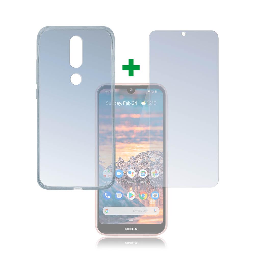 4smarts 360° Protection Set — тънък силиконов кейс и стъклено защитно покритие за дисплея на Nokia 4.2 (прозрачен) - 1