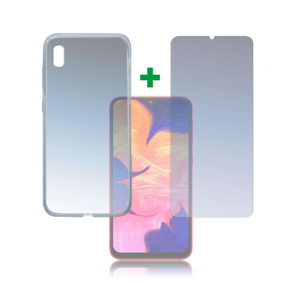 4smarts 360° Protection Set — тънък силиконов кейс и стъклено защитно покритие за дисплея на Samsung Galaxy A10 (прозрачен) - 1