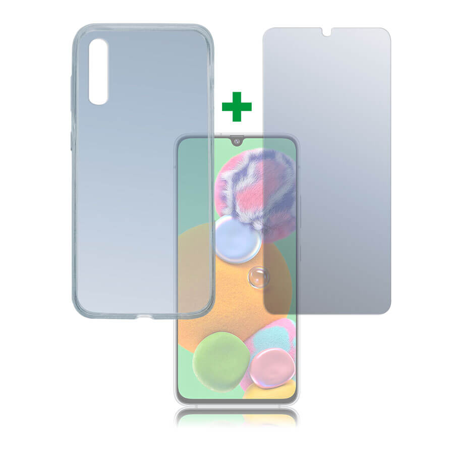 4smarts 360° Protection Set — тънък силиконов кейс и стъклено защитно покритие за дисплея на Samsung Galaxy A90 5G (прозрачен) - 1