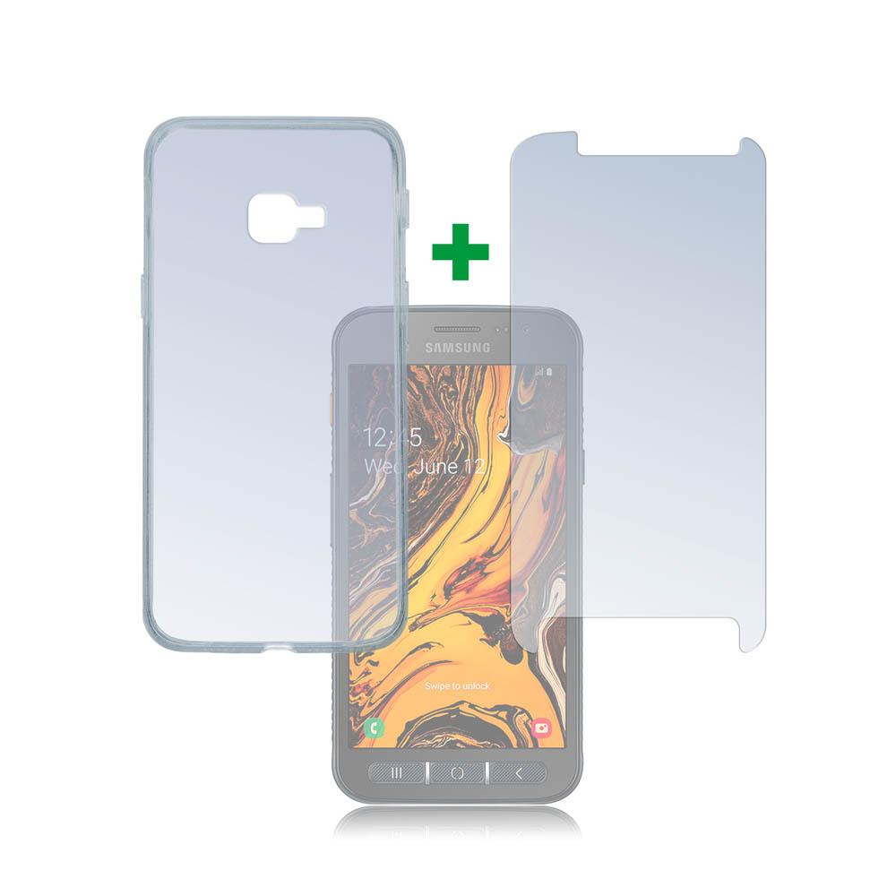 4smarts 360° Protection Set — тънък силиконов кейс и стъклено защитно покритие за дисплея на Samsung Galaxy Xcover 4s (прозрачен) - 1