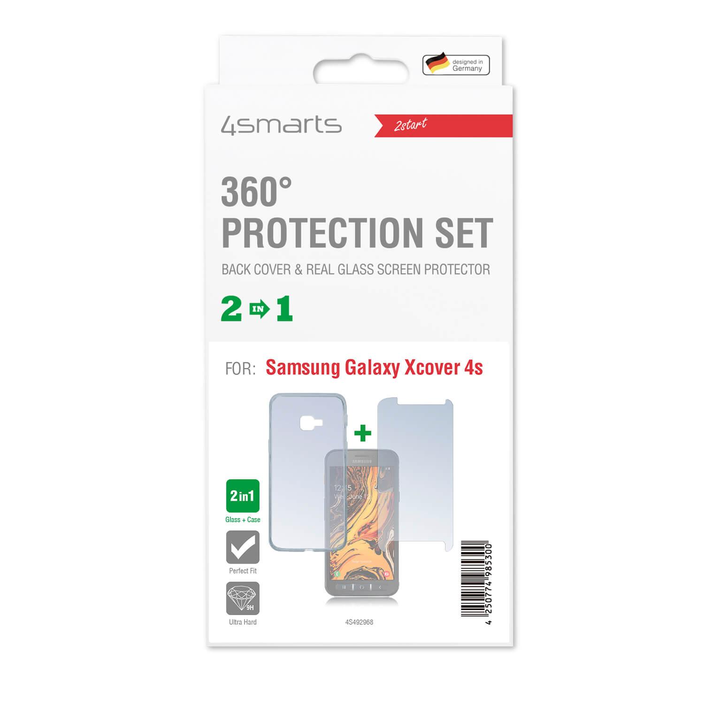4smarts 360° Protection Set — тънък силиконов кейс и стъклено защитно покритие за дисплея на Samsung Galaxy Xcover 4s (прозрачен) - 2
