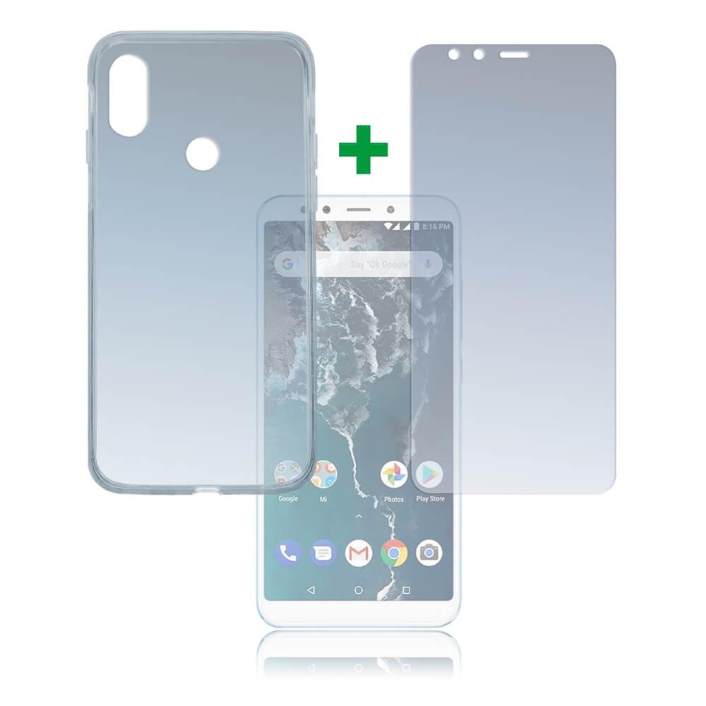 4smarts 360° Protection Set — тънък силиконов кейс и стъклено защитно покритие за дисплея на Xiaomi Mi A2 (прозрачен) - 2