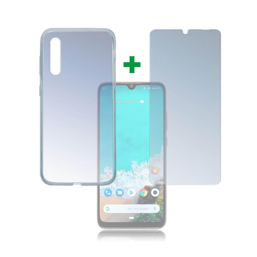 4smarts 360° Protection Set — тънък силиконов кейс и стъклено защитно покритие за дисплея на Xiaomi Mi A3 (прозрачен) - 1