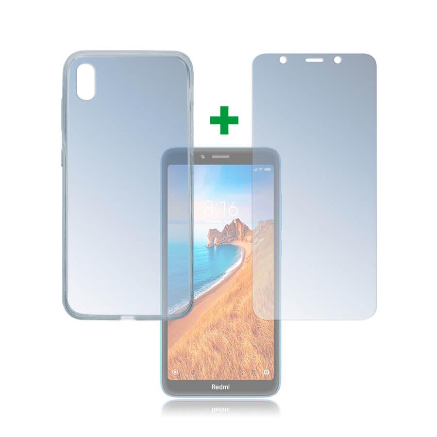 4smarts 360° Protection Set — тънък силиконов кейс и стъклено защитно покритие за дисплея на Xiaomi Redmi 7A (прозрачен) - 1
