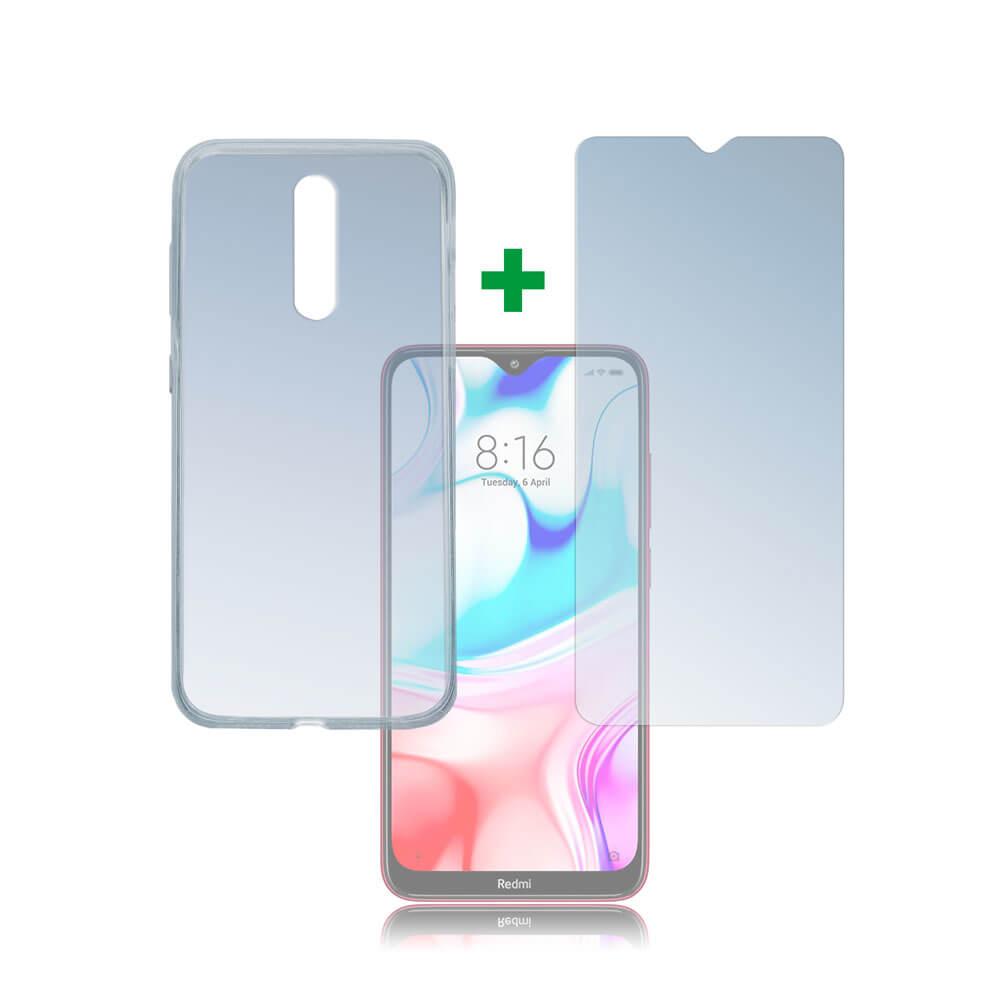 4smarts 360° Protection Set — тънък силиконов кейс и стъклено защитно покритие за дисплея на Xiaomi Redmi 8 (прозрачен) - 1