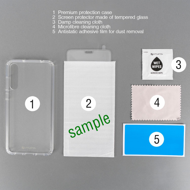 4smarts 360° Premium Protection Set — тънък силиконов кейс и стъклено защитно покритие с извити ръбове за дисплея на Oppo Find X2 Pro (прозрачен) - 3