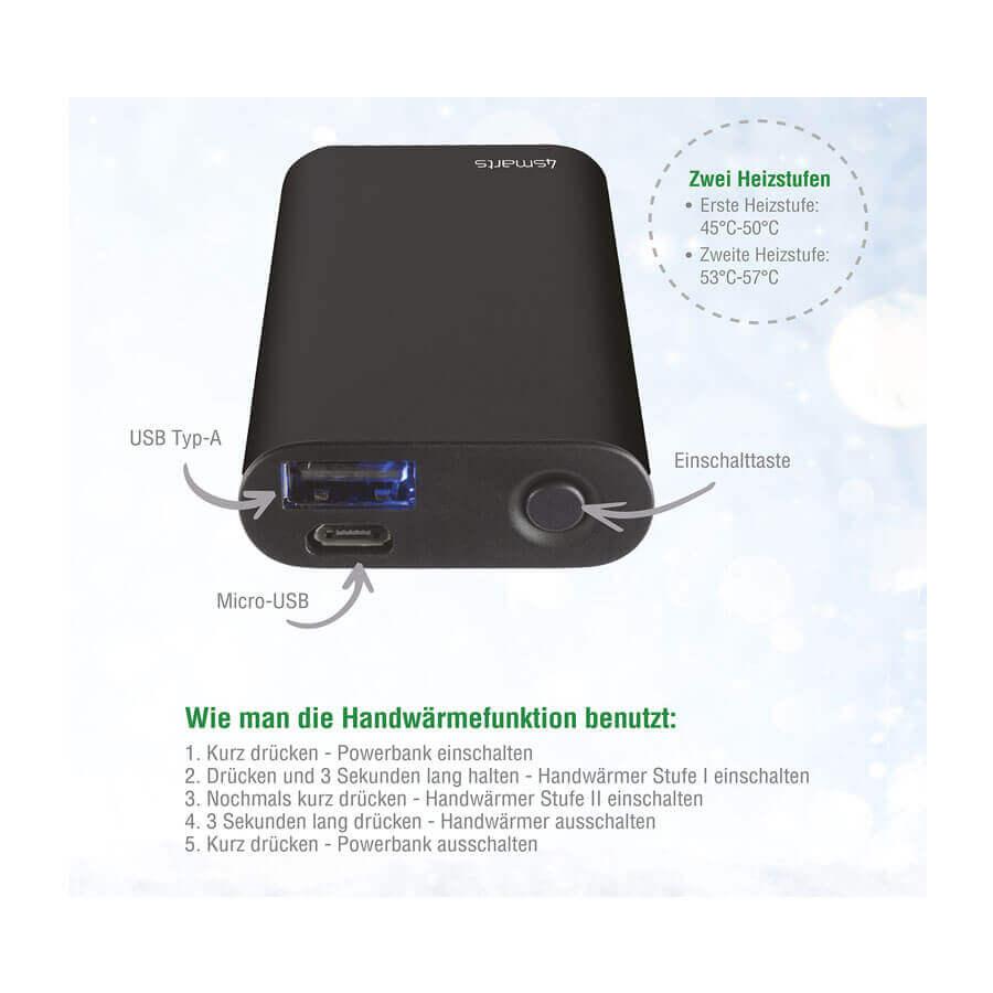 4smarts Hand Warmer Powerbank COSY 2000mAh — джобна външна батерия и нагревател за ръце (черен) - 2