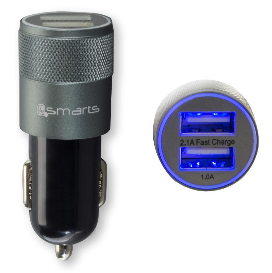 4smarts Hybrid Car Charger 15.5W, 3.1A — зарядно за кола (3.1 ампера) с 2 USB изхода за мобилни устройства (черен-сив) - 3