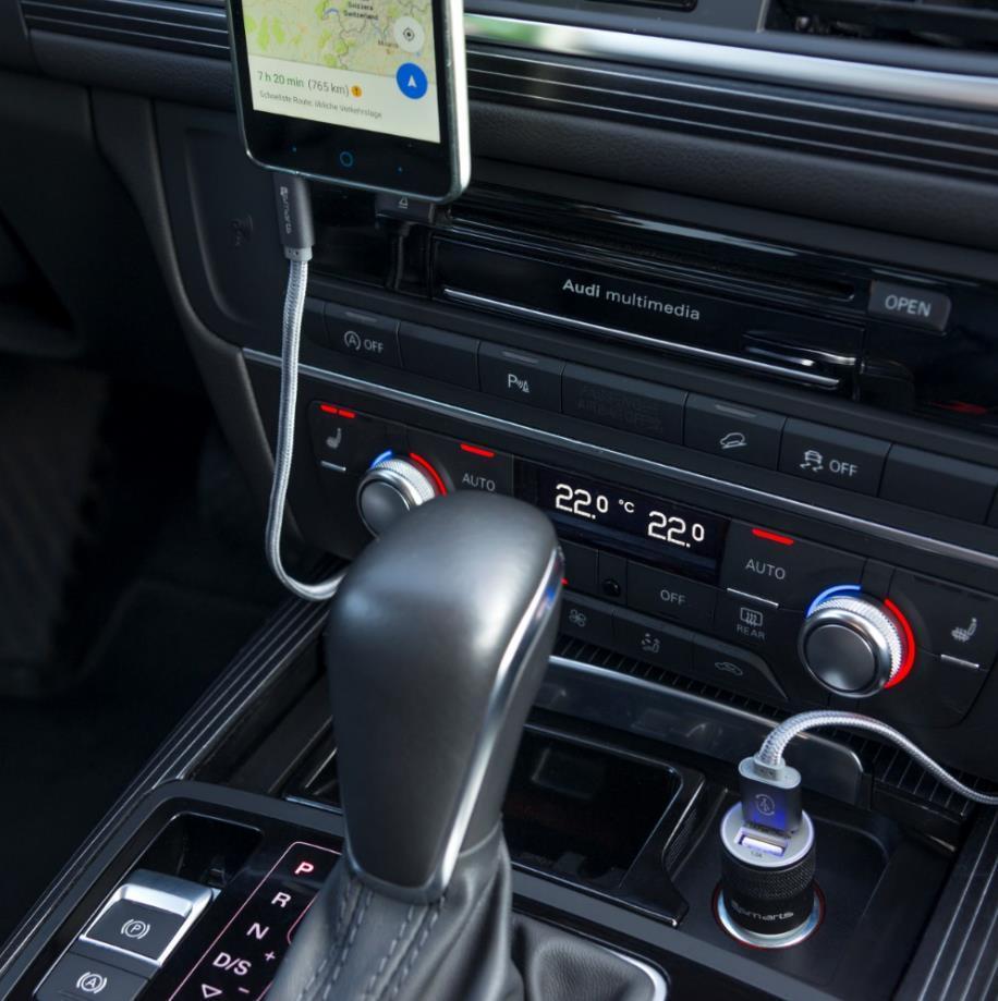 4smarts Hybrid Car Charger 15.5W, 3.1A — зарядно за кола (3.1 ампера) с 2 USB изхода за мобилни устройства (черен-сив) - 5