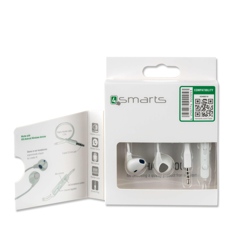 4smarts In-Ear Stereo Headset Melody — слушалки с управление на звука и микрофон за мобилни устройства (бял) - 2