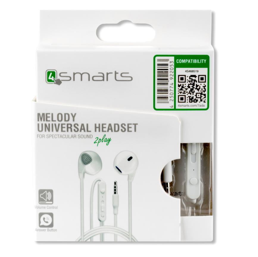 4smarts In-Ear Stereo Headset Melody — слушалки с управление на звука и микрофон за мобилни устройства (бял) - 3