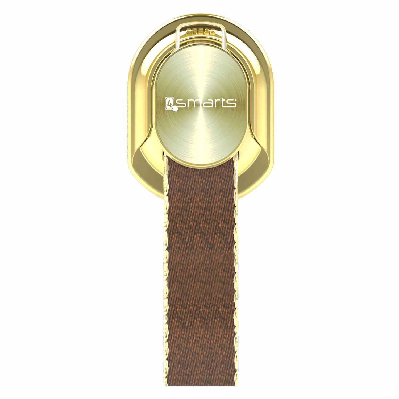 4smarts Loop-Guard Finger Strap — каишка за задържане за смартфони (кафяв-златист)  - 1