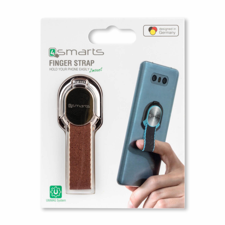 4smarts Loop-Guard Finger Strap — каишка за задържане за смартфони (кафяв-златист)  - 2
