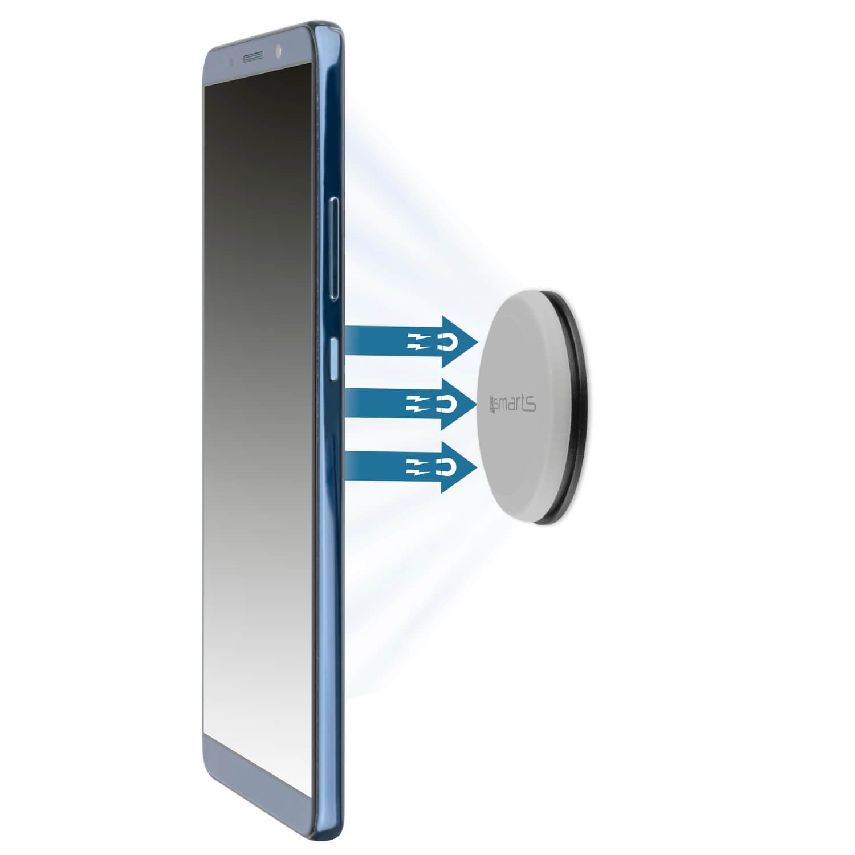 4smarts UltiMAG Allround Magnetic Holder — магнитна поставка за гладки повърхности за смартфони (сив) - 1