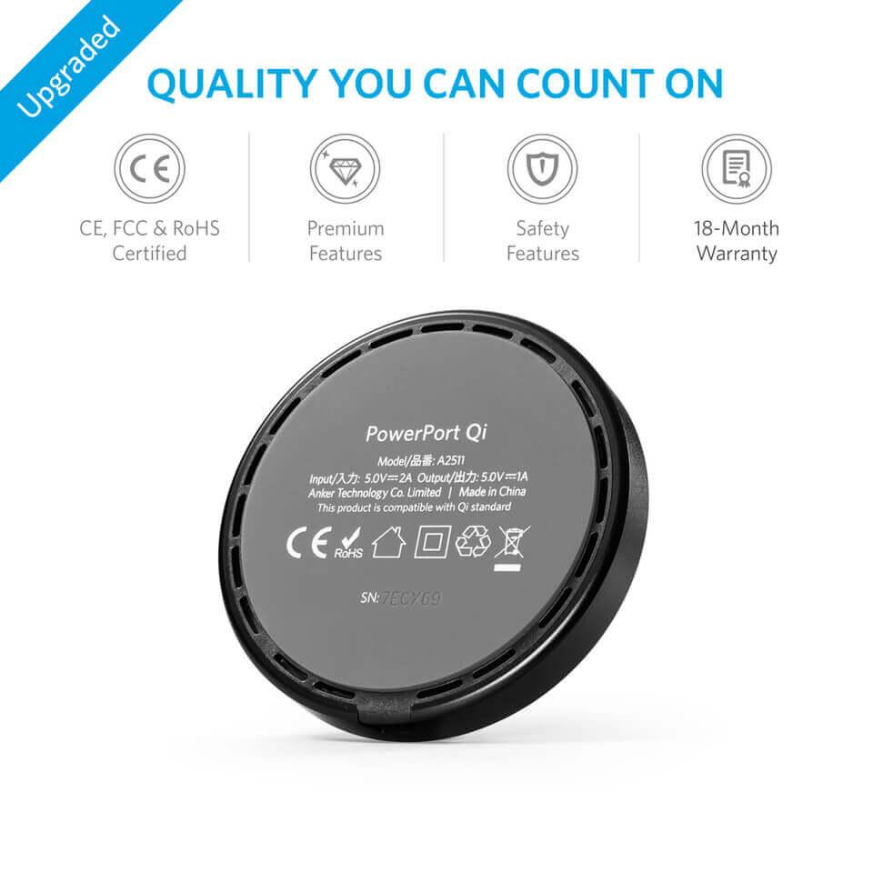 Anker PowerPort Wireless 12W Wireless Charging Pad — поставка (пад) за безжично захранване за QI съвместими устройства (черен) - 2