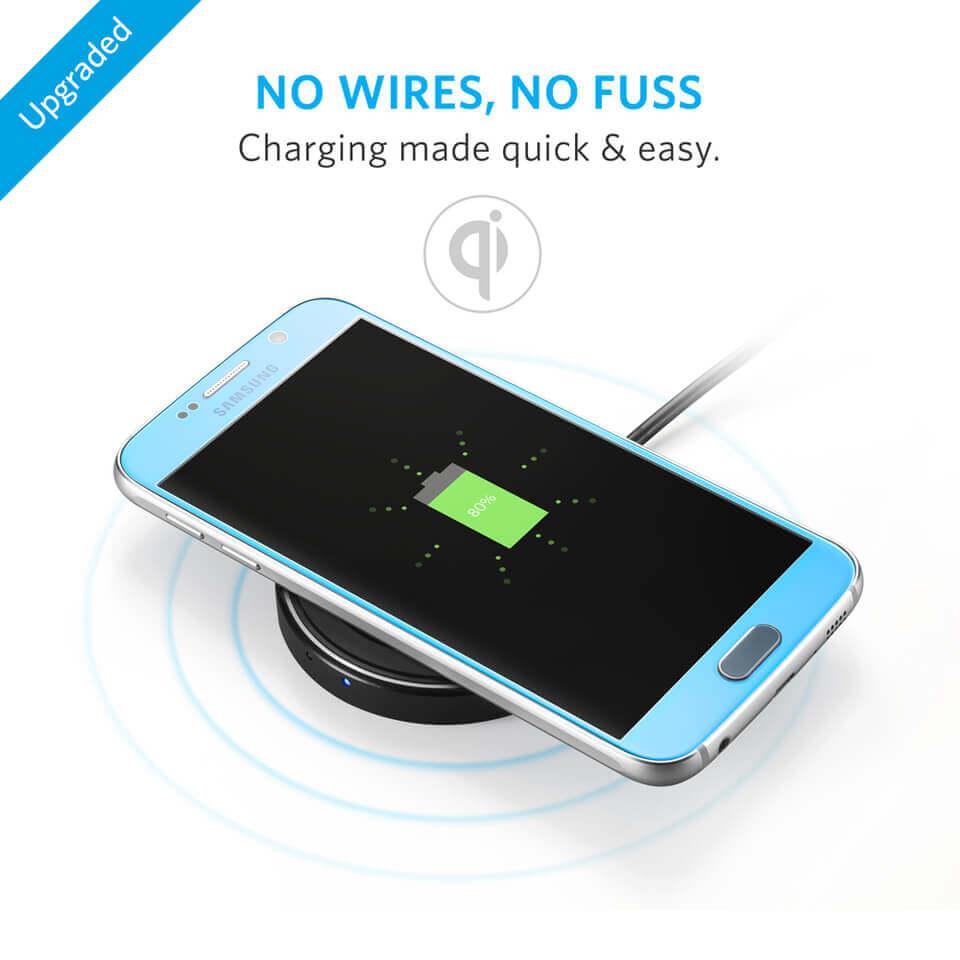 Anker PowerPort Wireless 12W Wireless Charging Pad — поставка (пад) за безжично захранване за QI съвместими устройства (черен) - 3