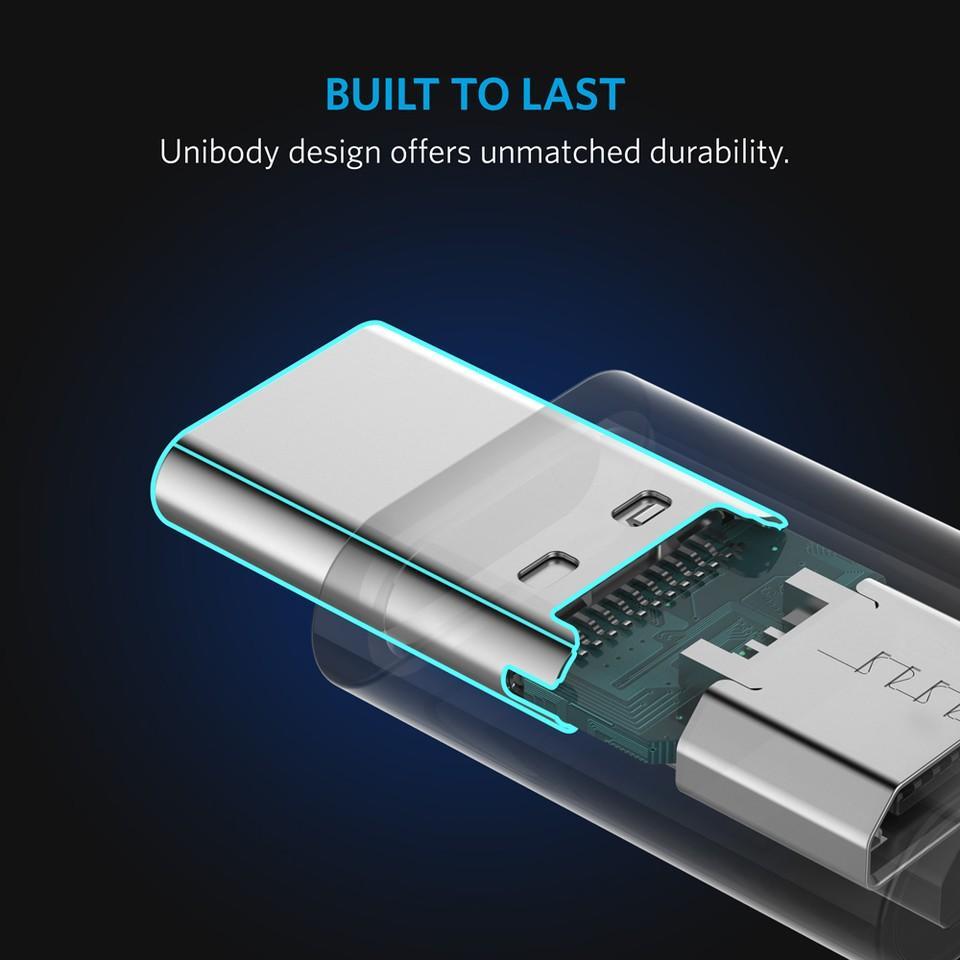 Anker USB-C Male to Micro USB Female Adapter — адаптер от microUSB женско към USB-C мъжко за мобилни устройства с USB-C порт (бял) (2 броя) - 4