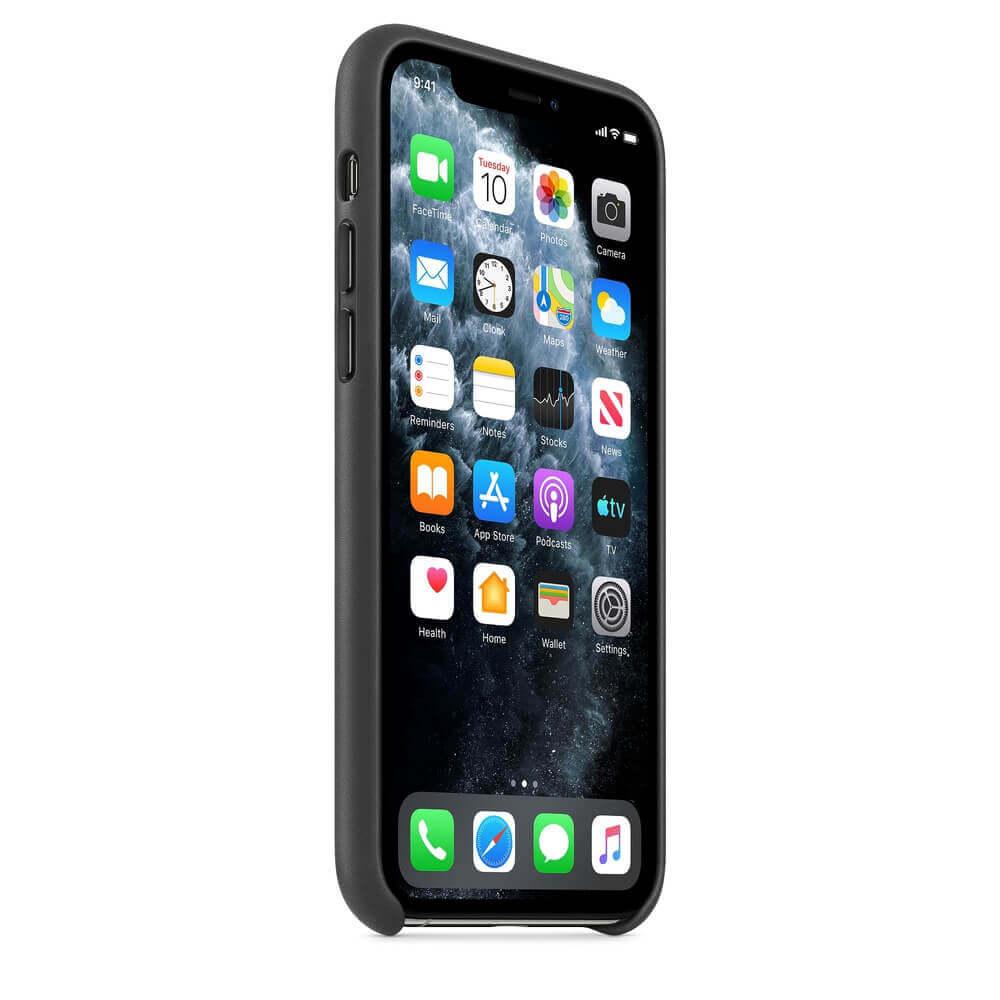 Apple iPhone Leather Case — оригинален кожен кейс (естествена кожа) за iPhone 11 Pro (черен) - 3